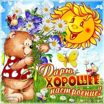 Открытка хорошего настроения, солнце и мишка, цветы, улыбайся, пожелание отличного настроения! скачать открытку бесплатно | 123ot
