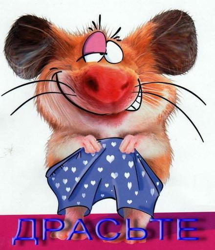 Открытка привет, приветик! Картинка привет, приветик! Прикольная открытка здрасте. Мышь с семейных трусах. скачать открытку бесплатно | 123ot