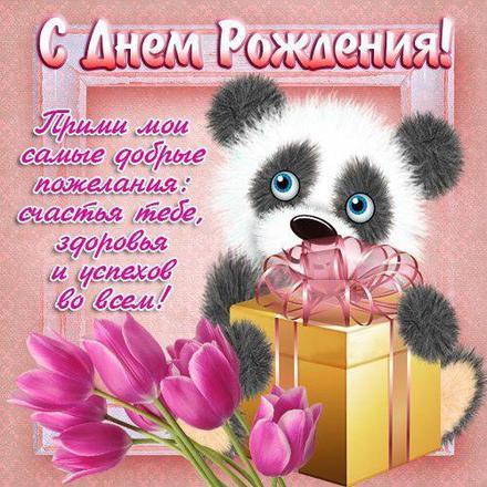 Открытка на день рождения! Поздравляю с Днём Рождения! Панда с подарком! скачать открытку бесплатно | 123ot