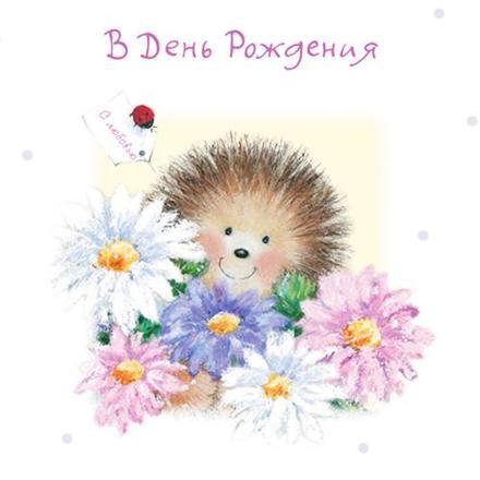 Открытка на день рождения! Поздравляю с Днём Рождения! Ежик в цветах! скачать открытку бесплатно | 123ot