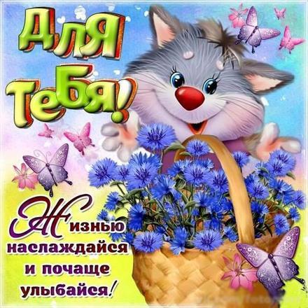 Открытка для Тебя, кот из сказки, цветы, бабочки, корзина, картинка Тебе, просто так, от всей души, для Тебя! скачать открытку бесплатно | 123ot