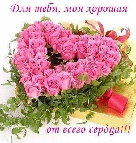 Открытка для Тебя, картинка Тебе, розы, сердце из роз, просто так, от всей души, для Тебя! скачать открытку бесплатно | 123ot