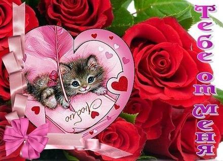 Открытка для Тебя, котик, розы, сердечки, картинка Тебе, просто так, от всей души, для Тебя! скачать открытку бесплатно | 123ot