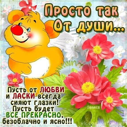 Яркая открытка для Тебя, цветы, мишка, картинка Тебе, просто так, от всей души, для Тебя! скачать открытку бесплатно | 123ot