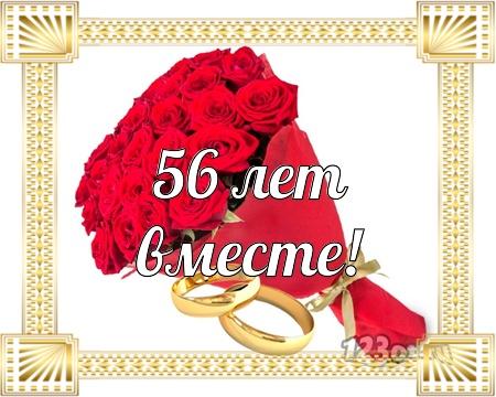 С годовщиной свадьбы 56 лет! Добрая, заводная, привлекательная открытка, картинка! скачать открытку бесплатно | 123ot